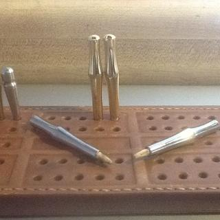 "Rockler 2"" Cribbage Pegs adapted for custom leather cribbage board."