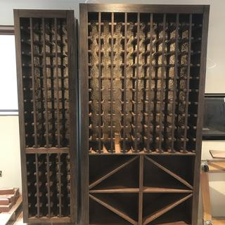 2 of 7cabinets for this project, with copper panels that will bounce light hidden behind stiles.