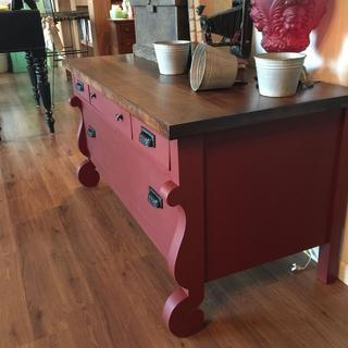 Vintage Lowboy finished in General Finishes Tuscan Red with Java Gel stained top.