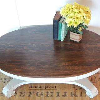 Empire style coffee table done in General Finishes Linen with Java Gel stained top.
