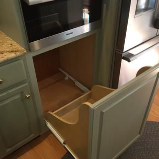 Used as bottom mount trash rollout for custom cabinet project