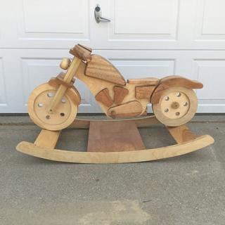 Motorcycle Rocker. The router circle jig worked perfectly for cutting the wheels.