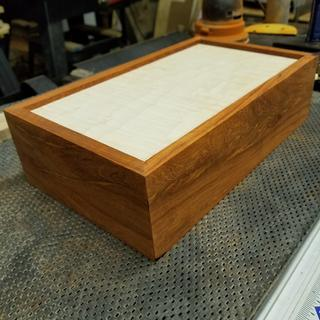 Curly Maple top ( veneer). Padauk  box. No finish yet.