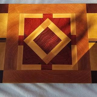 End grain cutting board after treating with conditioner
