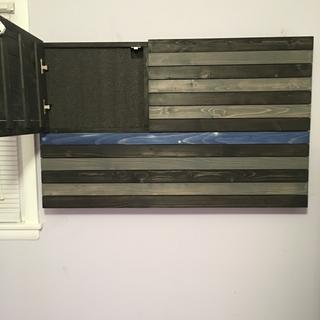 Blue Line police tribute conceal flag. GF Gray, and Black