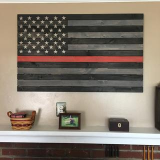 Red Line Firefighter tribute flag. General Finishes Gray, and General Finishes black