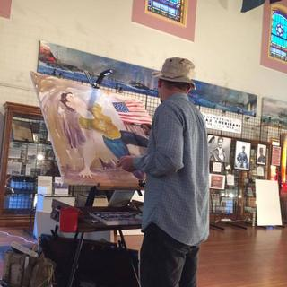 This was at the Veterans Museum, I am using the T Track to do really large paintings.
