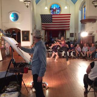 This was at the Veterans Museum with Peter Kalivas using my T Track Easel.