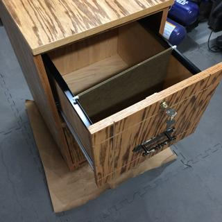 File cabinet built with recycled cabinet doors. The rails work well with 1/2 plywood drawers.