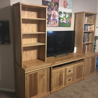 Solid White Oak Entertainment Center with adjustable shelves