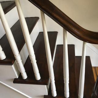 We used the gel on the stairs to make them match the mahogany railing and newel post.