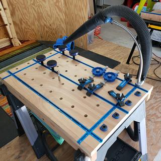 Totally awesome worktable w/ Rockler T Tracks, Clamps, Bench Cookies & more - great quality!
