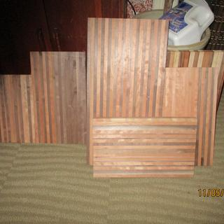 Sample of walnut/cherry boards assembled using Rockler glue roller on Titebond glue bottle.