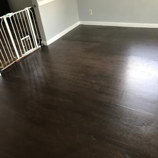 Dark walnut stain and 2 coats of poly.