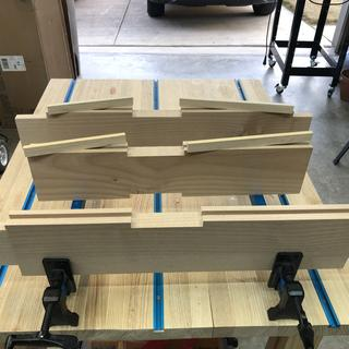 Slots and stiles all cut and ready for glue up.