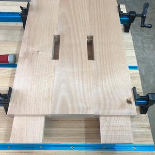 Dining room table leg glued up and ready to go after using the slot cutter bit from Freud.