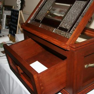 Finish on wedding gift Memory box with pullout drawer and stain glass also.