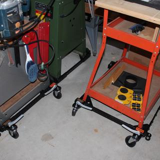 "Portamate PM1000 supporting Delta bandsaw, table saw and 6"" jointer planer on garage floor."