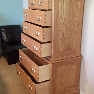 Chest-on- Chest in oak with maple drawers finished with Seal-Cell and Arm-R- Coat.
