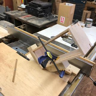 Jig used to cut the slots in the corners of the box.