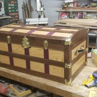 Walnut,  oak, and purple heart with brass hardware kit