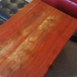 Finished marbled padauk.  Can you see the epoxy? No? That's the point.