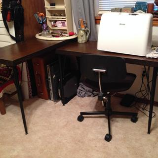 2 sewing tables made with adjustable legs.