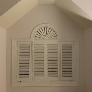 "4 shutters made using Rockler calculator & jigs, semicircle made with Rockler 3-1/2"" shutter stock."