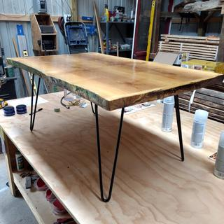 "Ash coffee table, 3'4"" long 16"" legs"