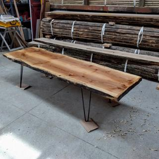 "Ash coffee table, 5' long 16"" legs"