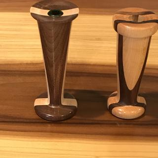 Bud vases made from laminated walnut and hard maple