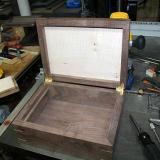 Secretary box ready to route mortises for a full mortise lock.