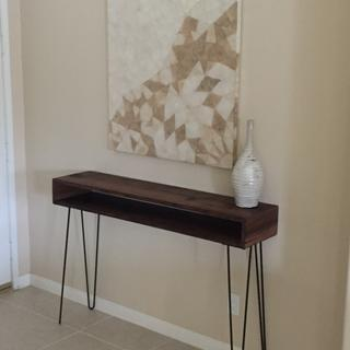 Entrance table.  Love these legs, they go well with this walnut table I made.