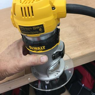 The included round base is a nice bonus upgrade to the dewalt 611 palm router stock base.