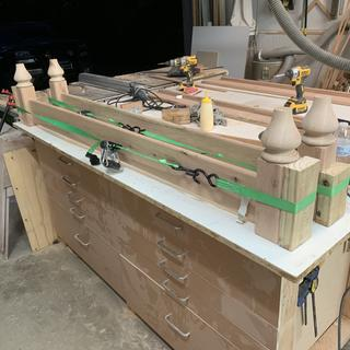 During glue up for the mortise and tenon joints.