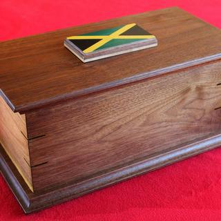 Ash casket for Jamaican official.  Walnut, dyed veneer: 2016 Copyright: Jeff Hutton