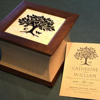 Wedding presentation box.  Maple, Walnut. Wife's needlepoint: 2016 Copyright: Jeff Hutton