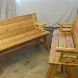 Folding picnic table benches