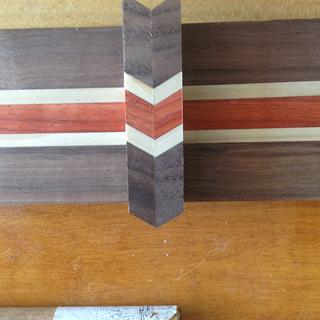 Walnut, maple, and padauk for the center.