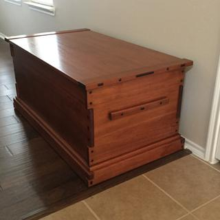 Greene and Greene inspired blanket chest built from red grandis dyed with TransTint brown mahogany.