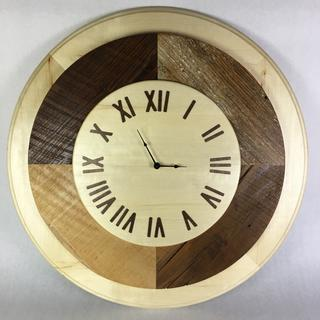 Helmworks clock designed for Mayor of Noblesville, IN out of historic lumber from city structures