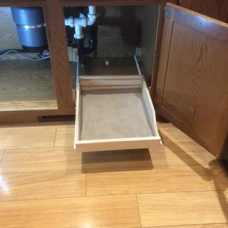 Added 1 sliding shelve under sink by modifying its length and width.