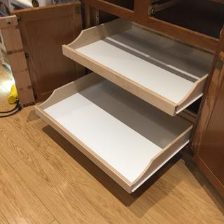 Converted 2 upper small sliding shelves with 2 large sliding shelves.