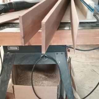 resawn walnut into 1/2, 1/2, and 1/8 in thicknesses