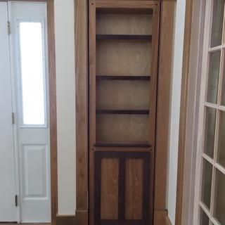 Built with leftover white oak flooring and black walnut accents.  Hinge is great!!