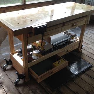 This is my completed woodworking workbench with installed Rockler Caster Set & Quick Release Plates.
