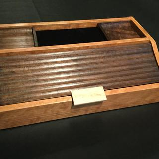 Dresser top valet made with rockler roundover bit and cove bit and rockler black velvet liner.