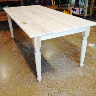 Farm table waiting on paint
