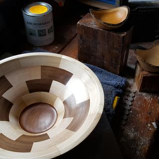 segmented bowl 33 pieces  maple walnut and cherr5.