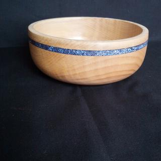 maple bowl with stone inlay